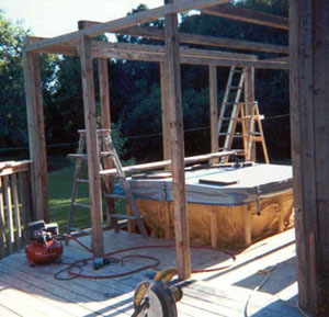 Daryl Finally Gets His Hot Tub. This Is A 6 Person Model. He Is Building  The Enclosure To Keep The Bugs Out.